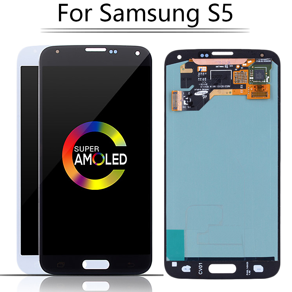 Original Super AMOLED LCD For <font><b>SAMSUNG</b></font> GALAXY S5 i9600 <font><b>G900F</b></font> G900M G9001 LCD Screen <font><b>Display</b></font> Touch Digitizer Assembly Replacement image