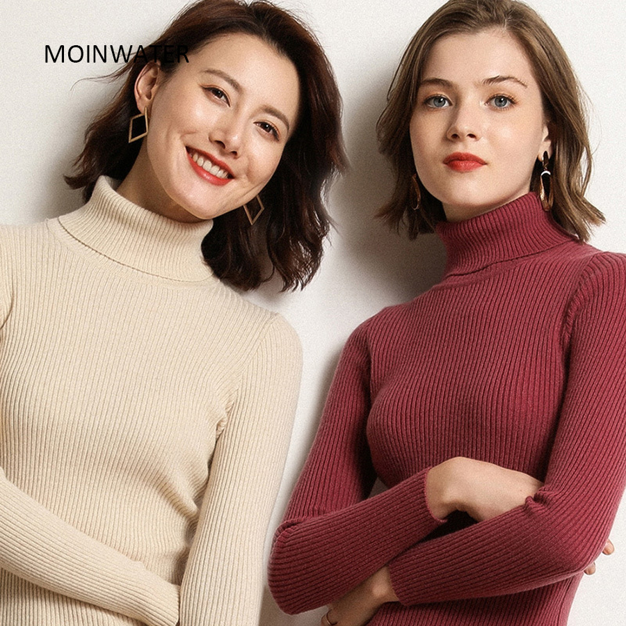 MOINWATER Women Slim Turtleneck Pullover Sweater Female Knitted Black Sweater Tops Base Clothing for Women MS1904