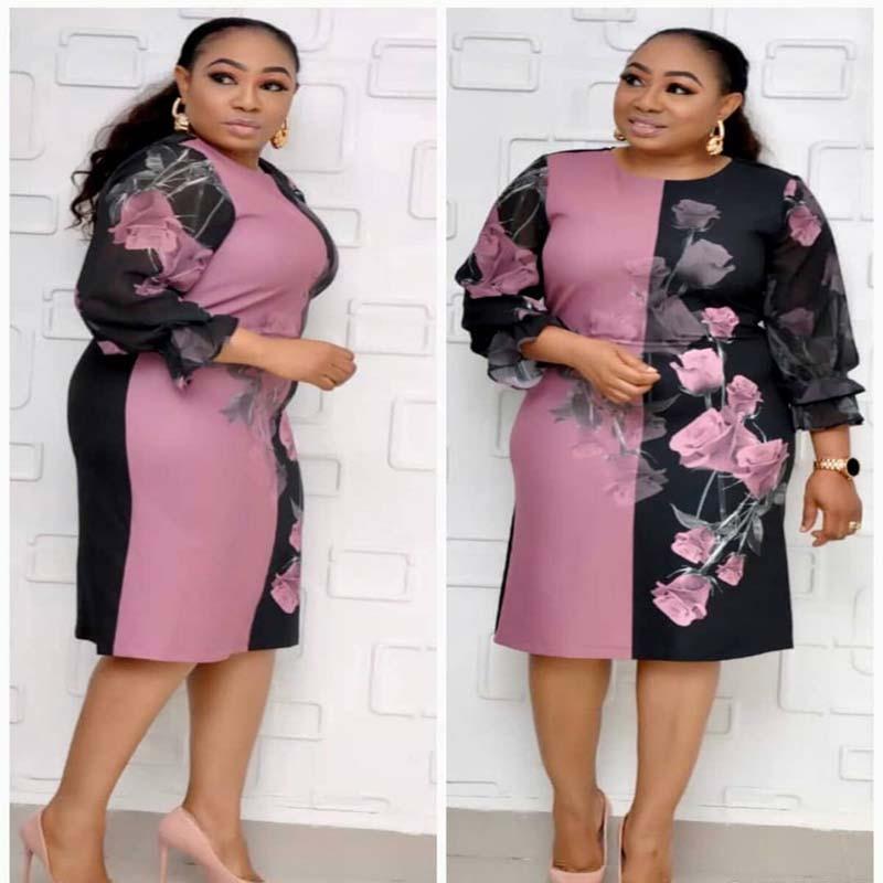 New Autumn Chiffon Bodycon Dress African Clothes Women Flower Print Chiffon Patchwork Dress O-Neck Knee Length Dress Office Lady
