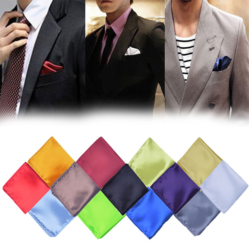 1 Pc New Silk Texture Men Pocket Towel Chest Towel Handkerchief Banquet Gentleman Solid Men Wedding Parties Clothing Accessories
