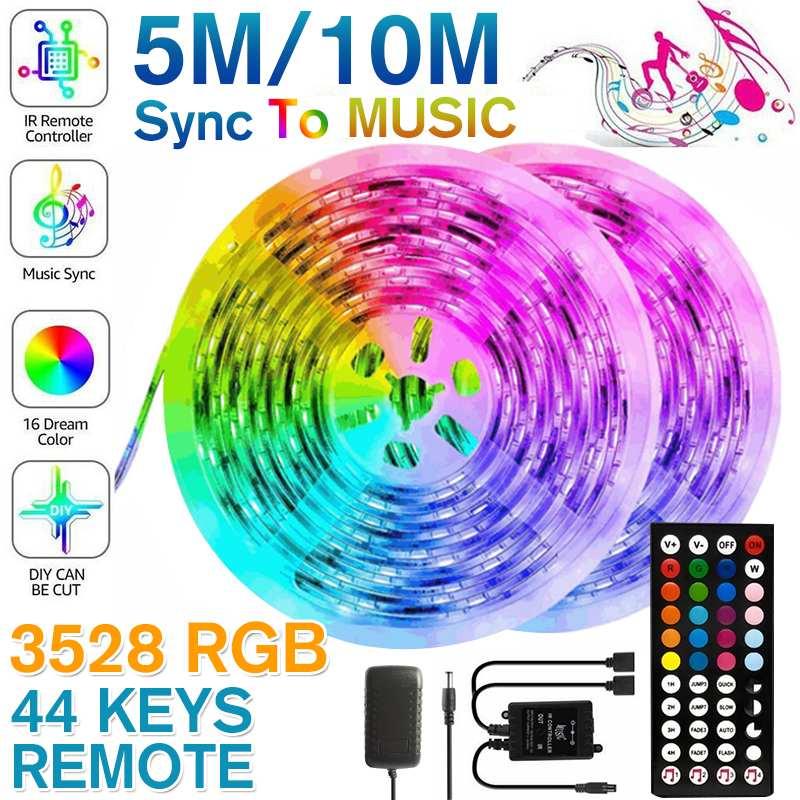 5M/10M 12V 3528 SMD LED Strip Sync to Music RGB LED Strip Light Tape+44 Key Remote Controller + IR Recelver +Power Adapter Plug