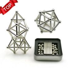 Инновационные строительные блоки buckybball, набор игрушек-пазлов для снятия давления, 36 магнитных палочек+ 27 стальных шариков