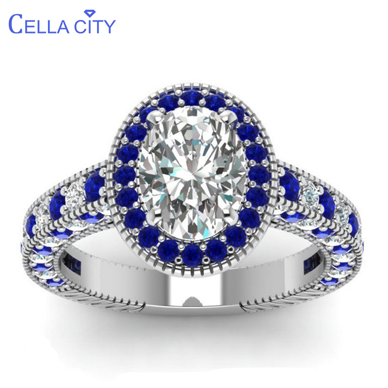 Cellacity Classic Silver 925 Ring For Women Luxury Jewelry With Gemstones Oval Shaped Zircon Sapphire Female Party Rings Gift