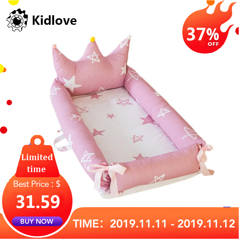 Newborn Baby Nest Detachable Simulating Sleep Bed Crown Design Baby Nest Travelling Cushion Bed For Children Infant Kids