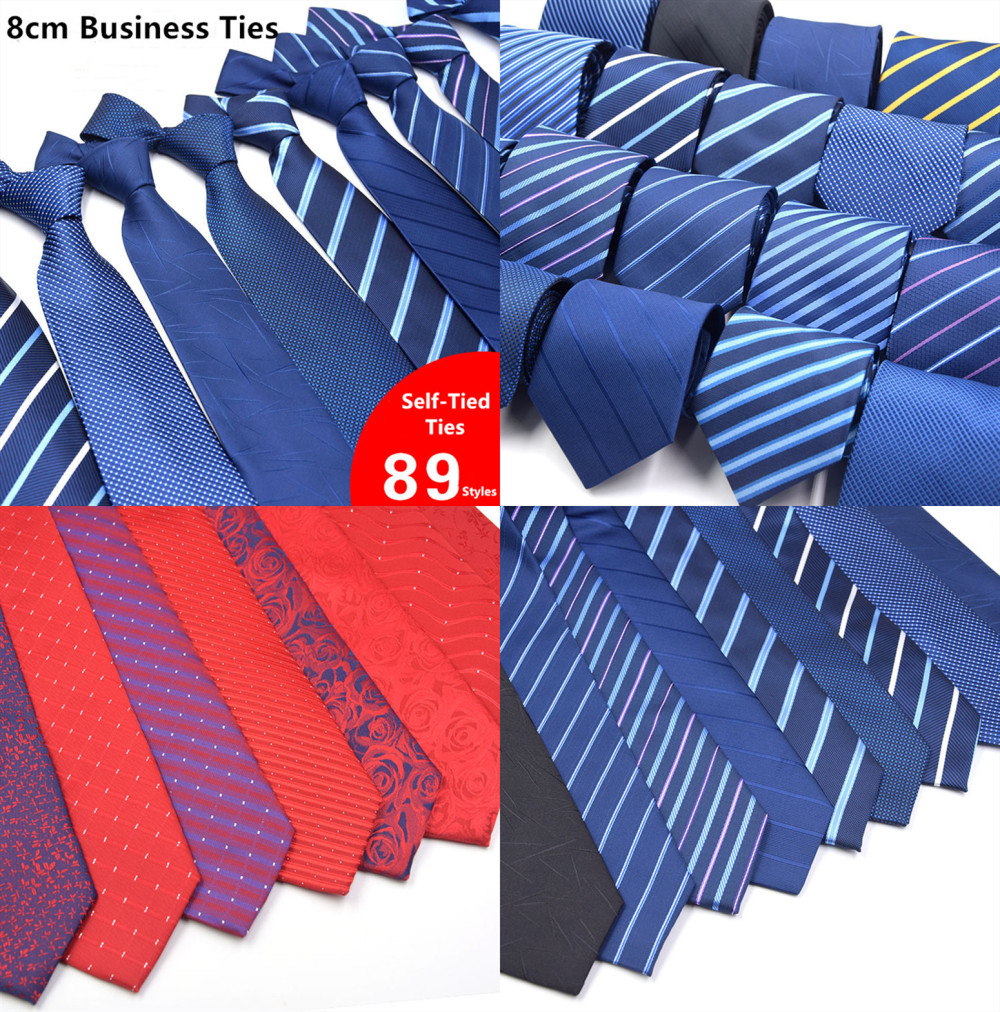 89 Styles Men's Ties Solid Color Stripe Flower Floral 8cm Jacquard Necktie Accessories Daily Wear Cravat Wedding Party Gift