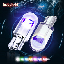 2pcs W5W 194 T10 Glass Housing Cob LED Car Bulb 3000K 6000K 7 Colors Wedge License Plate Lamp Dome Indicator Reading Light White