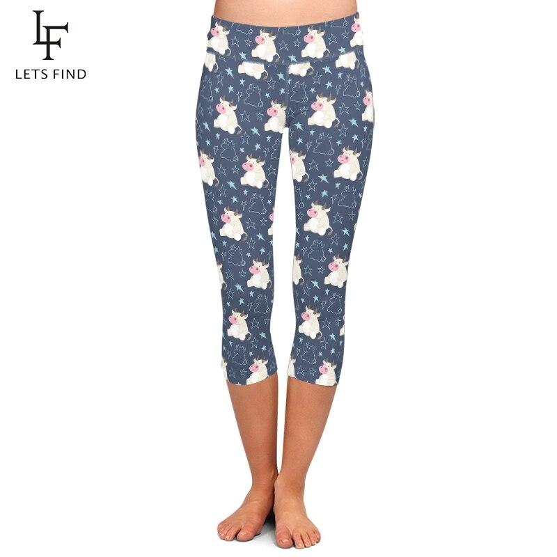 LETSFIND Summer New Cute Cartoon Cow Print Women Elastic Capri Leggings High Waist Plus Size Fitness Slim Mid-Calf Leggings