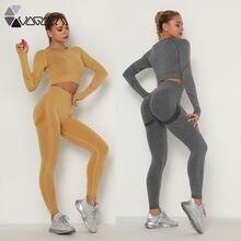2 pcs set seamless women yoga long sleeve crop top leggings