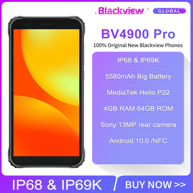 Blackview BV4900 Pro 5580mAh IP68 Waterproof Rugged Smartphone 5.7'' 4GB 64GB Android 10.0 Octa Core Mobile Phone NFC 2