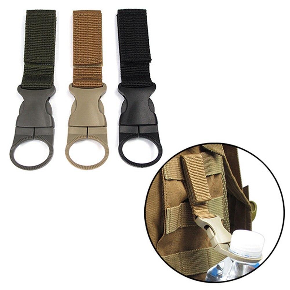 Outdoor Water Bottle Carabiner Climbing Accessory Molle Attach Belt Clip Webbing Backpack Loop&Hook Hanger Hook Tactical Holder