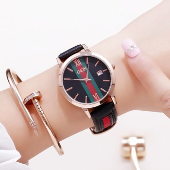 цены Watch Women Colorful Leather Watchband Students Fashion Casual Quartz Wristwatches Luxury Brand Designer Reloj Mujer Women Gifts
