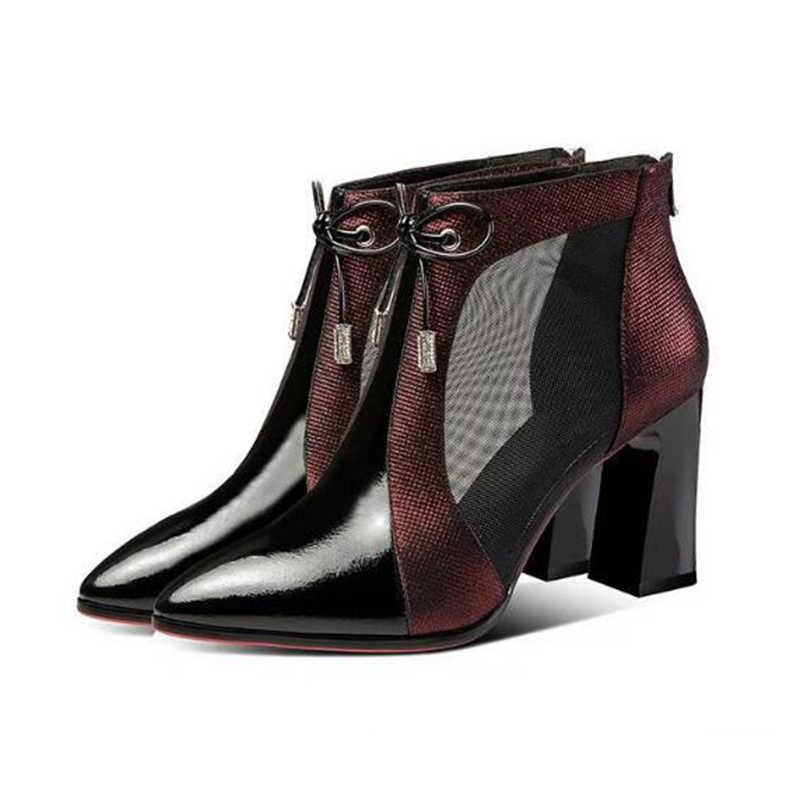 Kadın yüksek topuklu düğün ayakkabı kırmızı pompaları bölüm platformu topuk kadın Martin çizmeler sandalet siyah rugan içi boş kadın ayakkabı