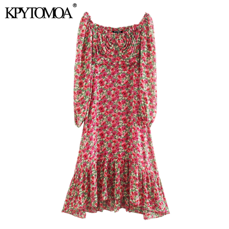 KPYTOMOA Women 2020 Chic Fashion Floral Print Ruffled Midi Dress Vintage Puff Sleeve Side Zipper With Lining Female Dresses