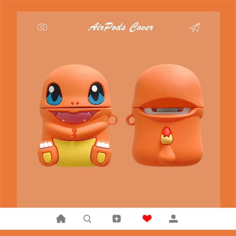 Pokemon Charmander Airpods Case Bag Cover Cosplay Badge Bluetooth Headset Silica Gel Protection Box Fashion Cartoon Cute Funny