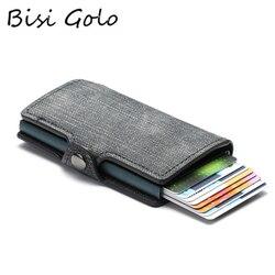 BISI GORO цветной держатель для кредитных карт RFID Блокировка ТОНКИЙ ID Держатели PU одиночный Алюминиевый одиночный ящик бизнес с застежкой карт...