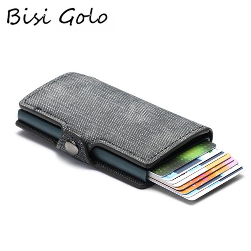 BISI GORO Colorful Credit Card Holder RFID Blocking Slim ID Holders PU Single Aluminum Single Box Business Hasp Card Wallets
