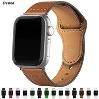 Lederband Für Apple uhr band 44mm 40mm 42mm 38mm Echtes Leder armband correa iwatch serie 5 4 3 2 SE 6 44 40 38 42mm