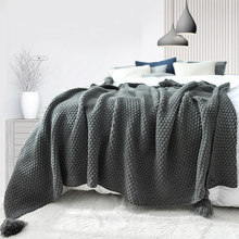 WOSTAR Solid color hand knitted blanket with tassel 180x200cm summer thread blanket bed sofa travel portable cape throw blanket