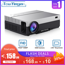 Touyinger t26l t26k 1080p led completo hd projetor vídeo beamer 5800 lúmen fhd 3d cinema em casa hdmi (android 9.0 wifi opcional)