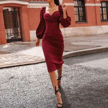 цена на Office Ladies Slim Bodycon Dresses Red Black Lantern Sleeve Nine Points Sleeve Mid-Calf Dress Elegant Party Dresses Fall Spring
