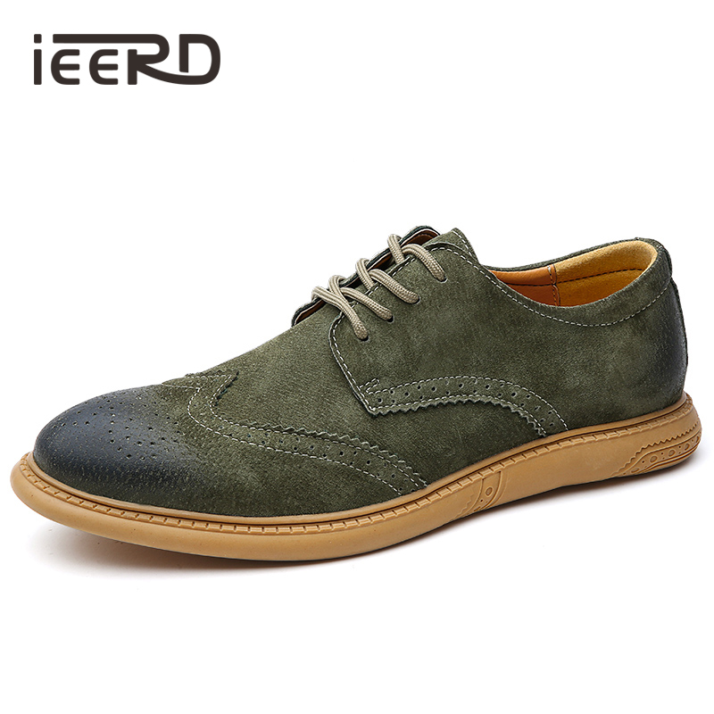 Classic British Casual Men Shoes Brogue Comfortable Suede Leather Shoes Men Loafers Lace Up Men Flats Hot Sale Moccasins Shoes