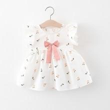 2021 girls Pink White Rabbit Short sleeve dress Infant child Bow cotton Little skirt 73cm 80cm 90cm 100cm 110cm
