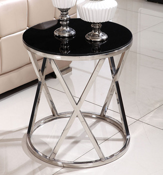 Stainless Steel Sofa Side Table Corner Table Tempered Glass Small Apartment Living Room Round Coffee Table End Table toughened glass tea table stainless steel small square table the sofa side table flower