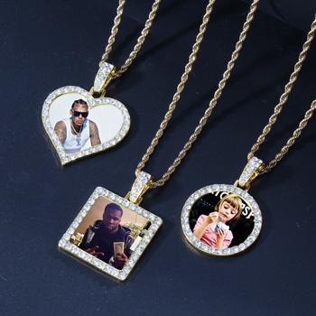 Custom Made Photo Square Round Heart Medallions CZ Crystal Necklace & Pendant with Stainless Steel Chain Men's Hip Hop Jewelry