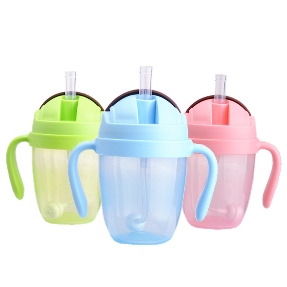 Portable 300ml Feeding Bottle Water &  Milk With Handles Drinking Mouth Silicone Straw Training Babies Suction Cups Leakproof
