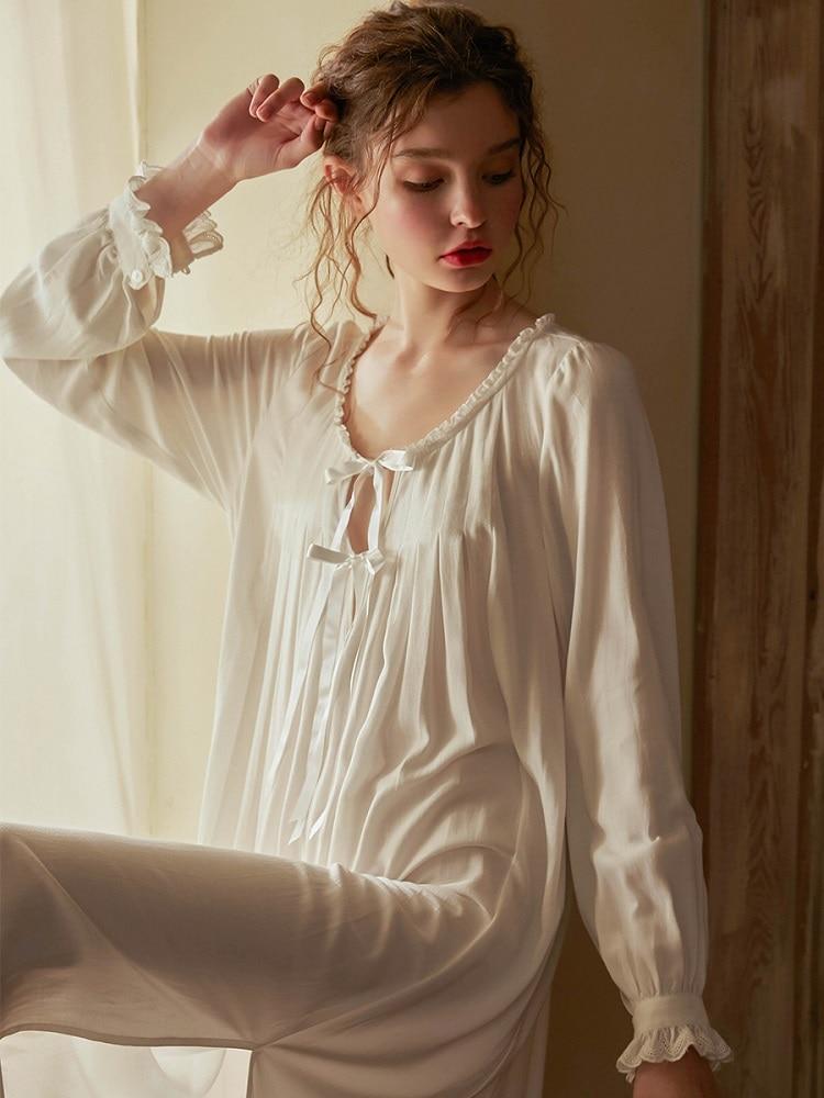 Sweet White Cotton Women's   Nightgowns   Soft Loose Viscose   Sleepshirts   Elegant Vintage Princess Bow Long Night Dress Plus Size