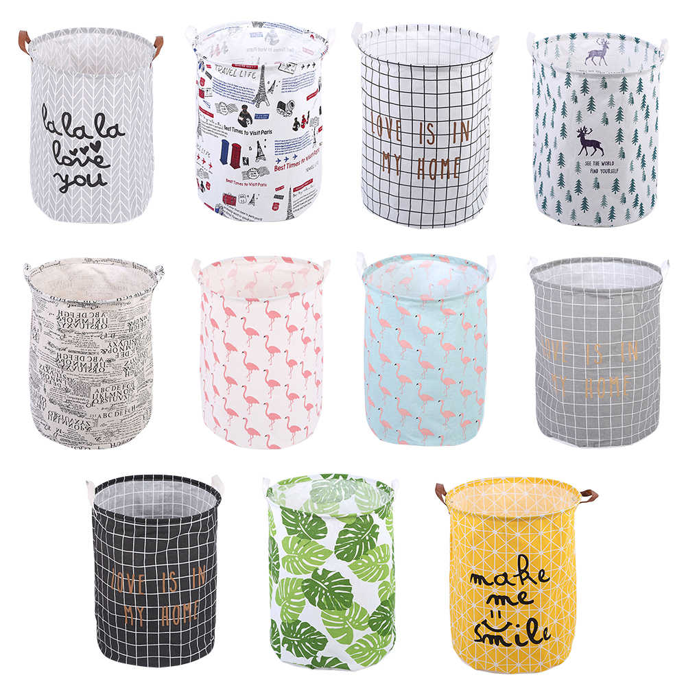 Nordic Folding Laundry Basket Round Storage Bin Bag Large Hamper Collapsible Clothes Toy Holder Bucket Organizer Home Decor