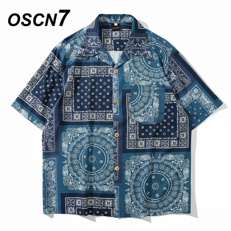 OSCN7 Casual Streetwear Beach Printed Short Sleeve Shirt Men 2020 Hawaii Oversize Fashion Harujuku Women Shirts 8008