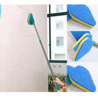 4Pcs /Set Clean Reach Mop Brush Scrubber Telescoping Cleaning Pad Bathtub Sponges Glass Polish with Handle Scrub Easy To Use