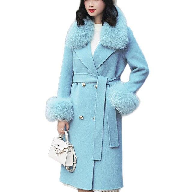 ขนสัตว์จริงฟ็อกซ์ขนสัตว์ 2019 ฤดูใบไม้ร่วงฤดูหนาวผู้หญิงOutwearแจ็คเก็ตWarmยาวสีเทาขนสัตว์เสื้อแจ็คเก็ตขนสุนัขจิ้งจอกจริง