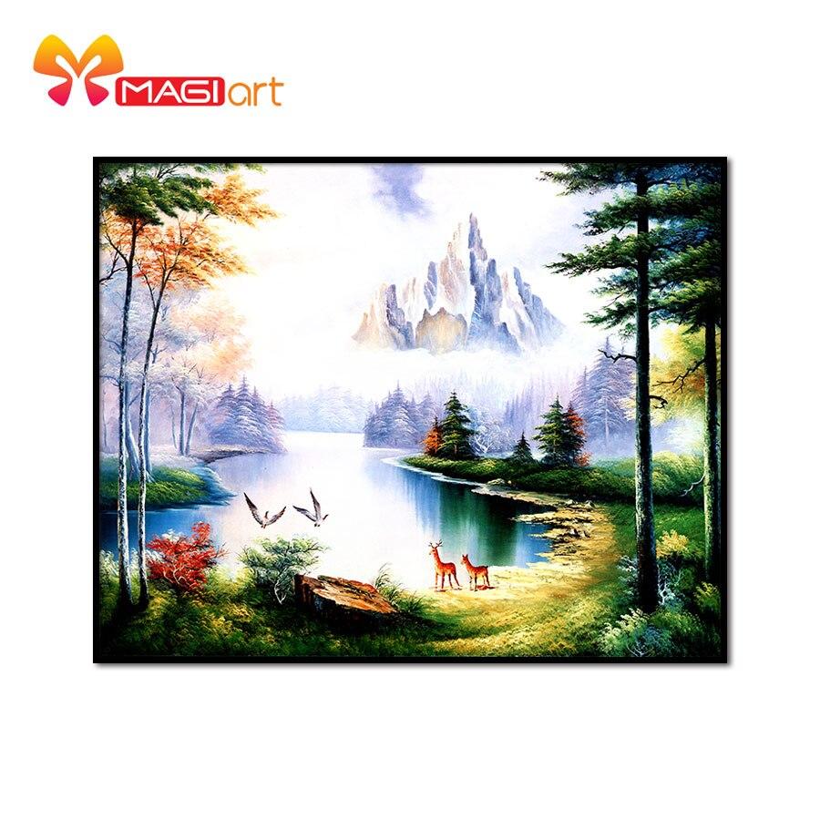 Kits de point de croix broderie couture ensembles 11CT hydrosoluble toile modèles 14CT paysage peinture neige mountain-NCMS031