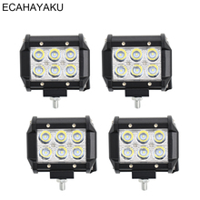 ECAHAYAKU 4 Pcs Led Car Light 18W Led Light Bar Spot Beam Led Chip 4 Inch Dc 12V 24V For 4X4 Offroad Car SUV Pickup-trucks Jeep 8pods 9w rgb led led rock light with bluetooth control car light atmosphere lamp kit for jeep for suv trucks excavator ship
