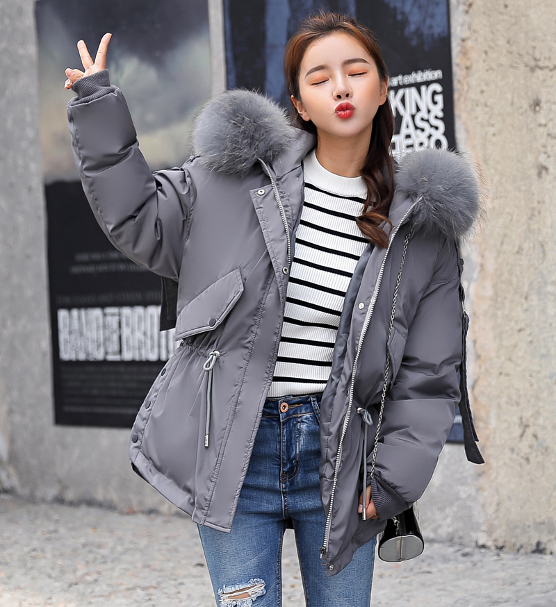 Korean Style 2019 Winter Jacket Women Cotton Padded Hooded With Fur Fe_B4_15