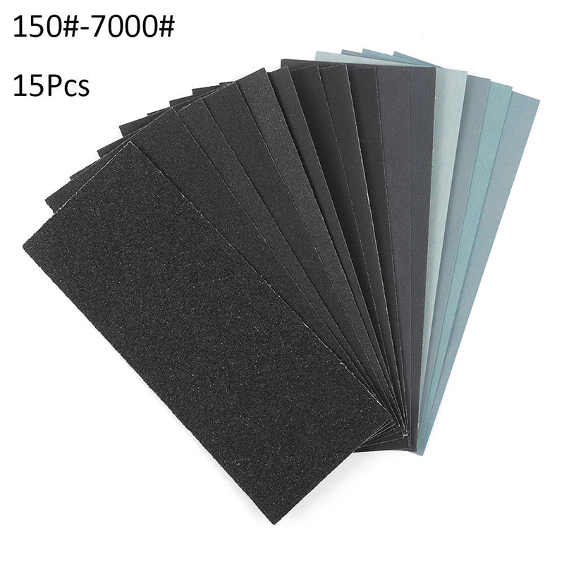 15x Assorted Sand Paper Sheets Home Coarse Wet Dry Use Sandpaper 150-7000 Grit