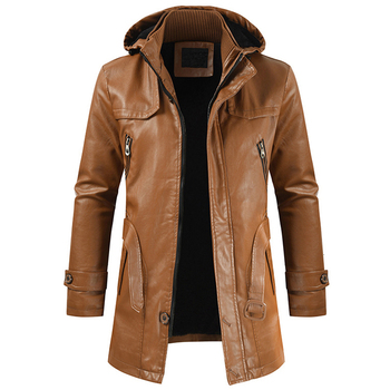 Men Winter New Long Hooded Thick Fleece Leather Jacket Parkas Men Outwear Casual Vintage Warm Faux Leather Jackets Trench Men