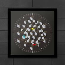 Design de arte gráfica moderna hexágono mesa relógio de parede decoração minimalista placa rotativa relógio inteligente mãos arquiteto relógio novidade