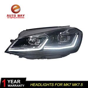 Image 3 - รถจัดแต่งทรงผมหัวโคมไฟสำหรับVW Golf7 ไฟหน้าGolf 7 MK7 2013 2017 LEDไฟหน้าDRLเลนส์คู่beam Bi Xenon HID