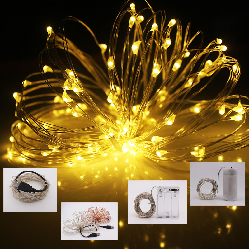 AA Battery Powered LED String Light 1M 2M 5M 10M Waterproof Cooper Wire Strip Fairy Lamp For Holidays Party Garden Decorating