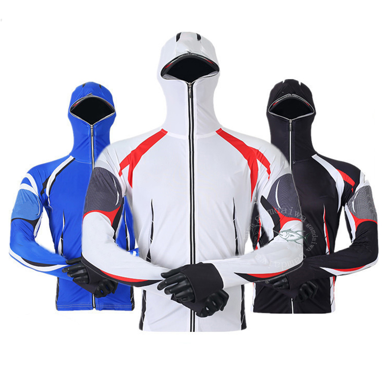 Clothes Fishing Shirt Jacket Ice Silk Quick Dry Sports Clothing Sun Protection Face Neck Anti-UV Breathable Fishing Hooded