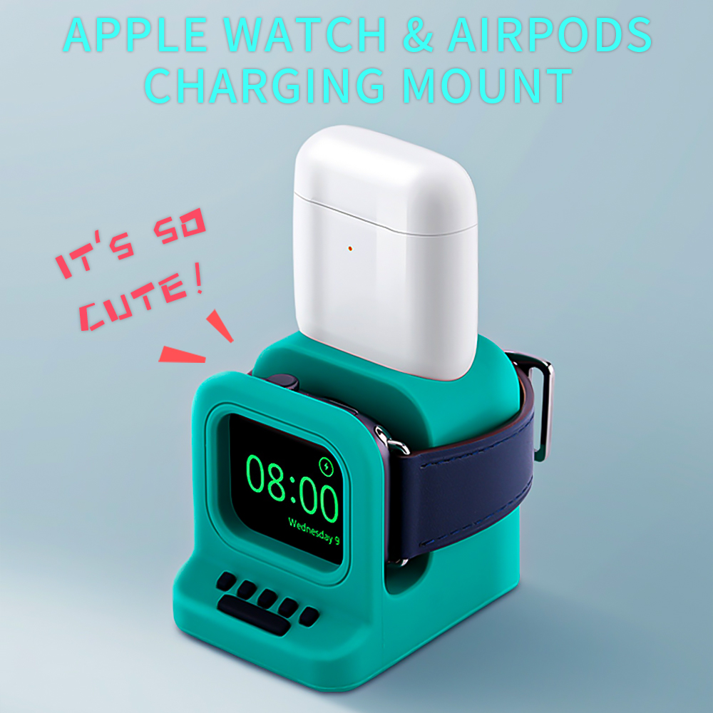 2 In1 Charging Dock Station Stand Charger Holder For Apple Watch Series 5 4 3 2 1 AirPods 1 2 Cute Silicone Desk Charging Mount