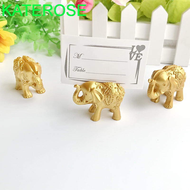 24PCS Gold Lucky Elephant Place Card Holders Name Photo Holder Wedding Baby Party Table Decoration Favors