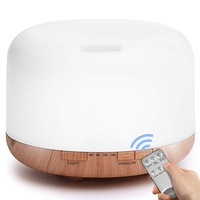 Air humidifier for home 1L aroma diffuser with 7 color light maker wooden grain design silent air purifier
