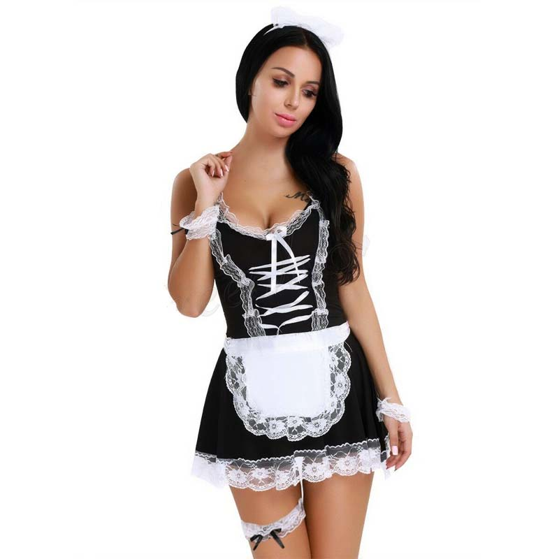 Queen Size XXXL Women French Maid Dress Uniform Costume Set <font><b>Halloween</b></font> Apron <font><b>Sexy</b></font> Fantasy Uniform <font><b>Lingerie</b></font> Outfits image