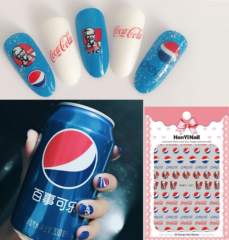 Douyin Online Celebrity Hot Selling Manicure Flower Stickers Nail Decals Pepsi Nail Ornament HANYI207
