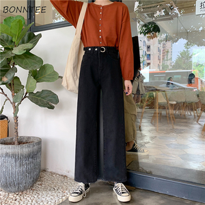 Image 1 - Jeans Women Plus Velvet Thickening Classic High Waist Simple Vintage Wide Leg Trousers BF Loose Womens Harajuku Casual Ulzzang