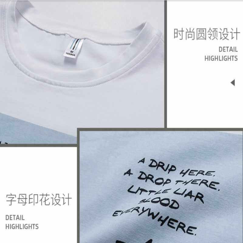 남성용 짧은 소매 티셔츠 2020 년 여름 신작 코튼 티셔츠 남성용 여름용 인기있는 로고 하단 탑